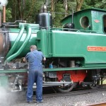 The engine driver attends to the oiling of the Abt Train in the heart of the mountains, King Gorge.