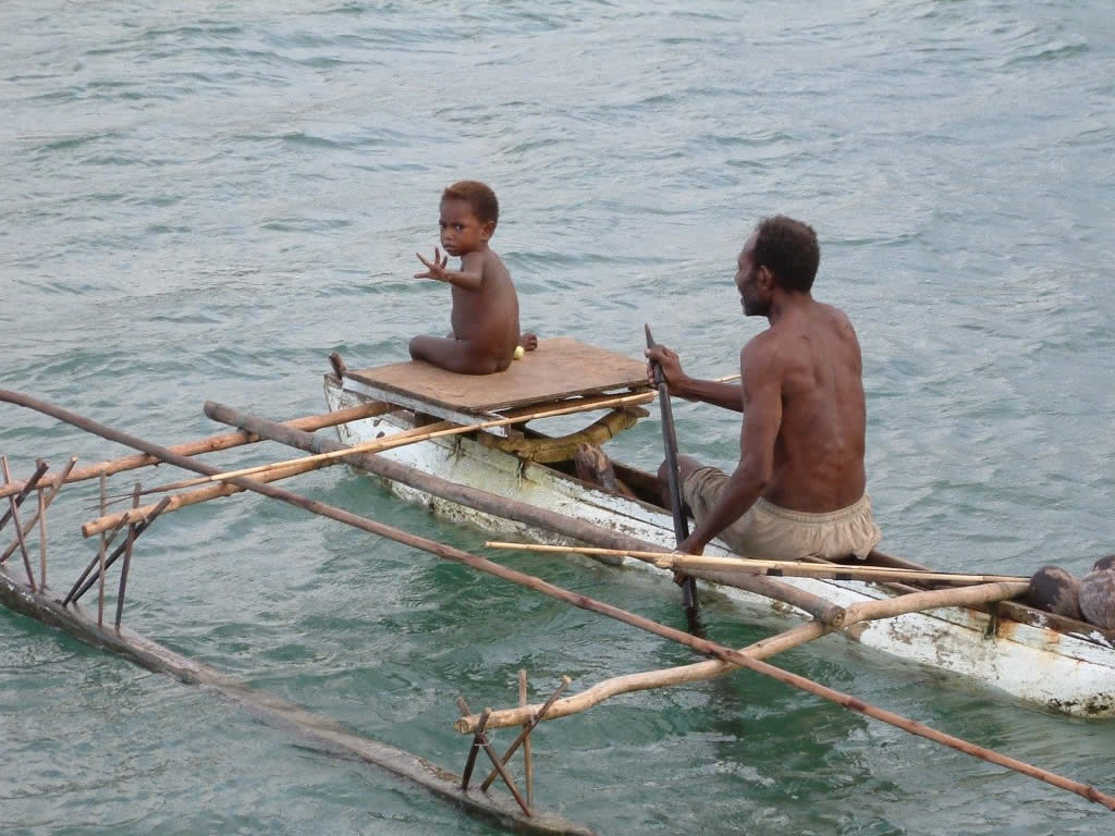 Father and Son on Canoe