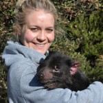 Our friendly guide showing the peaceful nature of the Tasmanian Devil at Cradle Mountain.